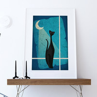 Mid Century Modern Print Cat Abstract Art Print Poster Giclee on Cotton Canvas and Paper Canvas Wall Decor