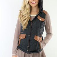 Cabin Fever Black Puffer Vest With Contrast Trim