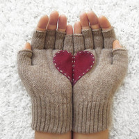 Heart Gloves, Fingerless Beige Gloves with Cherry Felt Heart