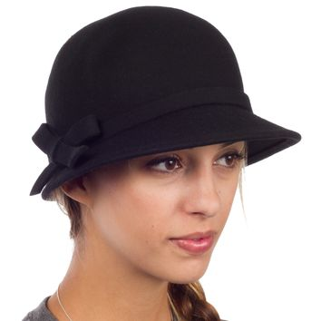 Sakkas Sally Vintage Style Wool Cloche Bucket Winter Hat with Bow Accent