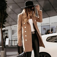 Fashion women's Suit Collar Two Row Buttons Long Sleeve Wool Coat