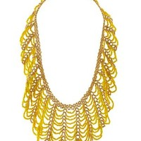 Yellow Draped Seed Bead Statement Necklace by Charlotte Russe