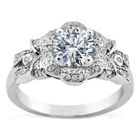 Engagement Ring - Diamond Bows & Flower Engagement Ring  in White Gold - ES1055