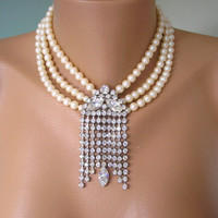 Great Gatsby Necklace, Pearl Bridal Choker, Statement Necklace, Wedding Jewelry, Cream Pearls, Vintage Bridal, 1920s, Art Deco, Flapper
