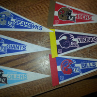 """Vintage 90s Lot of 6 Small 9"""" NFL Pennants"""