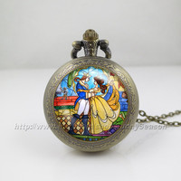Beauty and the Beast Pocket Watch, Flowers Rose pendant Locket necklace, Pocket Watch