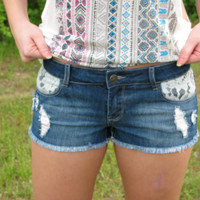 Cutoff Shorts with Lace Insets