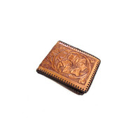 Tooled Leather Wallet, 1970s, Floral Design