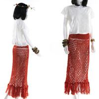 Vintage 70s Red Knit Cage Skirt Long Midi Length Pencil Skirt