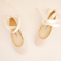 Light Blush Ballet Flats with Ivory Satin Ribbons | Tie Around Ballerina Style Flat Shoes | Blush ... Ready to Ship