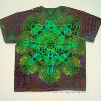 Tie Dye Shirt- 2XL Psychedelic Star- Green, Yellow, and Brown