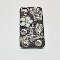 Bling Cell Phone Case, Black Bling iphone 4 Case, Butterfly Accessories, Cell Phone Cover, Bridesmaid Gift, Maid of Honor Gift