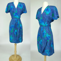 1980s 90s blue silk wrap dress, short sleeve floral print V neck dress, XS, 4