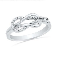 Sterling Silver Round Diamond Twisted Knot Fashion Ring (1/6 cttw),size 6.5