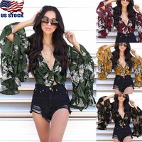 Plus Size Womens Summer Sexy Flare Long Sleeve Tie Front Crop Top Blouse Tops US