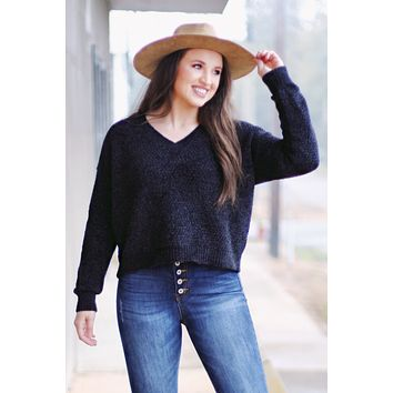 Moana Brushed Chenille V-neck Sweater {Black}