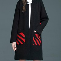 New Casual Loose Patchwork Pockets Women Overcoats