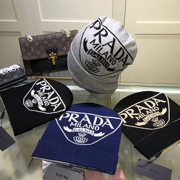 Prada  Double G letter foreign style warm knit hat