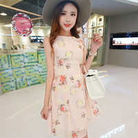 Champagne Floral Print Sleeveless Casual Dress