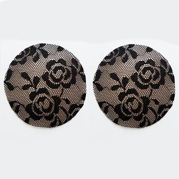 Black Lace Silicone Reusable Invisible Self-Adhesive Nipple Covers
