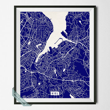Kiel Print, Germany Poster, Kiel Street Map, Germany Map Print, Europe, Dorm Decor, Home Wall Art, Office Decor, Back To School