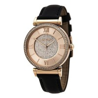 PEAP6 Michael Kors Watches Catlin Leather Watch (Black)