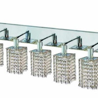 Wiatt - Wall Fixture Oblong Canopy with Square Pendant (5 Light Contemporary Crystal Vanity Fixture) - 1093W-O-S