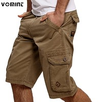 Men Cargo Shorts Casual Shorts Fashion Pockets Solid Color Army Green Shorts