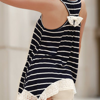 Stripe Laced Hem Bow Accent Assymetric Tank Top