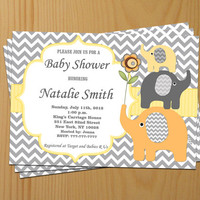 Baby Shower Invitation Elephant Baby Shower Invitation Neutral Baby Shower Invitations Yellow (87a) -Free Thank You Card - Instant Download