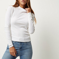 White ribbed turtleneck top - plain t-shirts / vests - t shirts / vests - tops - women