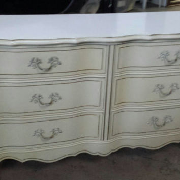 Dresser French Provincial Country French Vintage Shabby Chic Beach Cottage Buffet Changing Table Bathroom Vanity TV Console by Bassett