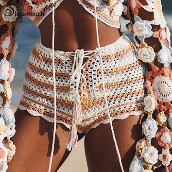 Crochet Shorts Lace Up Front Multi Colored Stripes White Orange Blue Golden Festival Or Beach Small Medium Or Large