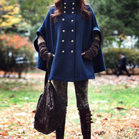 Blue Womens Parka Double-breasted Coat WOOL Jacket Trench Free Size