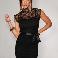 Black Floral Lace Scallop Short Sleeve Turtleneck Mini Dress