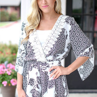Don't Miss a Thing Romper - Black and Ivory