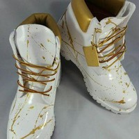 """Custom White and Gold """"Cocaine"""" Timberland Boots- Hand Painted Timberlands- Custom Tim"""