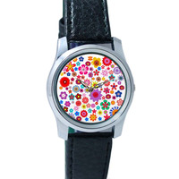 Floral Pattern Illustration Wrist Watch