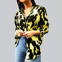 fhotwinter19 new style hot sale casual buttoned tie-dye long sleeve women's lining