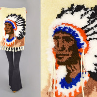 70's Native American Chief HEADDRESS Wall Hanging / Textile