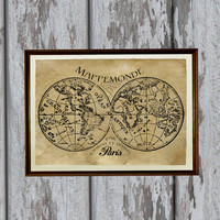 Map of the world decor Antique poster Vintage decoration Geographic print 8.3 x 11.7 inches