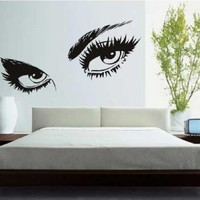 Large Beautiful Charming Eyes Wall Mural Decal Sticker Bedroom Living Room Girls Nursery Decor