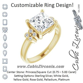 Cubic Zirconia Engagement Ring- The Heidi Grethe (Customizable 9-stone Design with Princess/Square Cut Center and Complementary Quad Bezel-Accent Sets)