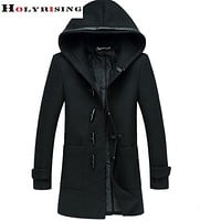 Men Wool Jacket Long Woolen Men's Overcoat Leather Collar Warm Wool Outwear For Men Black Coat