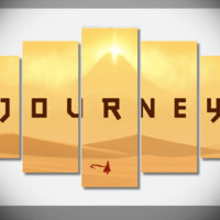5 Piece Multi Panel Modern Home Decor Framed Journey Game Wall Canvas Art | Octo Treasures