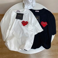 """""""Palm Angels"""" Unisex Loose Fashion Brooch Love Heart Embroidery Couple Short Sleeve T-shirt Top Tee"""