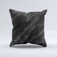 Black Marble Surface  Ink-Fuzed Decorative Throw Pillow