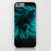 Feather in green-turquoise iPhone & iPod Case by VanessaGF