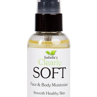 Isabella's Clearly SOFT, Best Body & Face Natural Oil Serum Lotion. Moisturize, Hydrate, Heal, Smooth Dry Skin. Anti-Aging Wrinkle. Alternative to Cream, Vitamin E Oil, Almond Avocado, Camellia 2 Oz