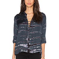 Lace Front Long Sleeve Blouse in Blue Ashes
